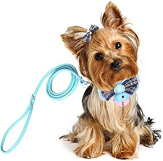 Vavopaw Pet Bow Tie, [3 Pack] Elegant Pet Collar Set with Bell Clip LeashPuppy Bow Knot Adjustable Pet Neck Tie Choker Necklace Decoration Accessories, Small Size - Light Blue