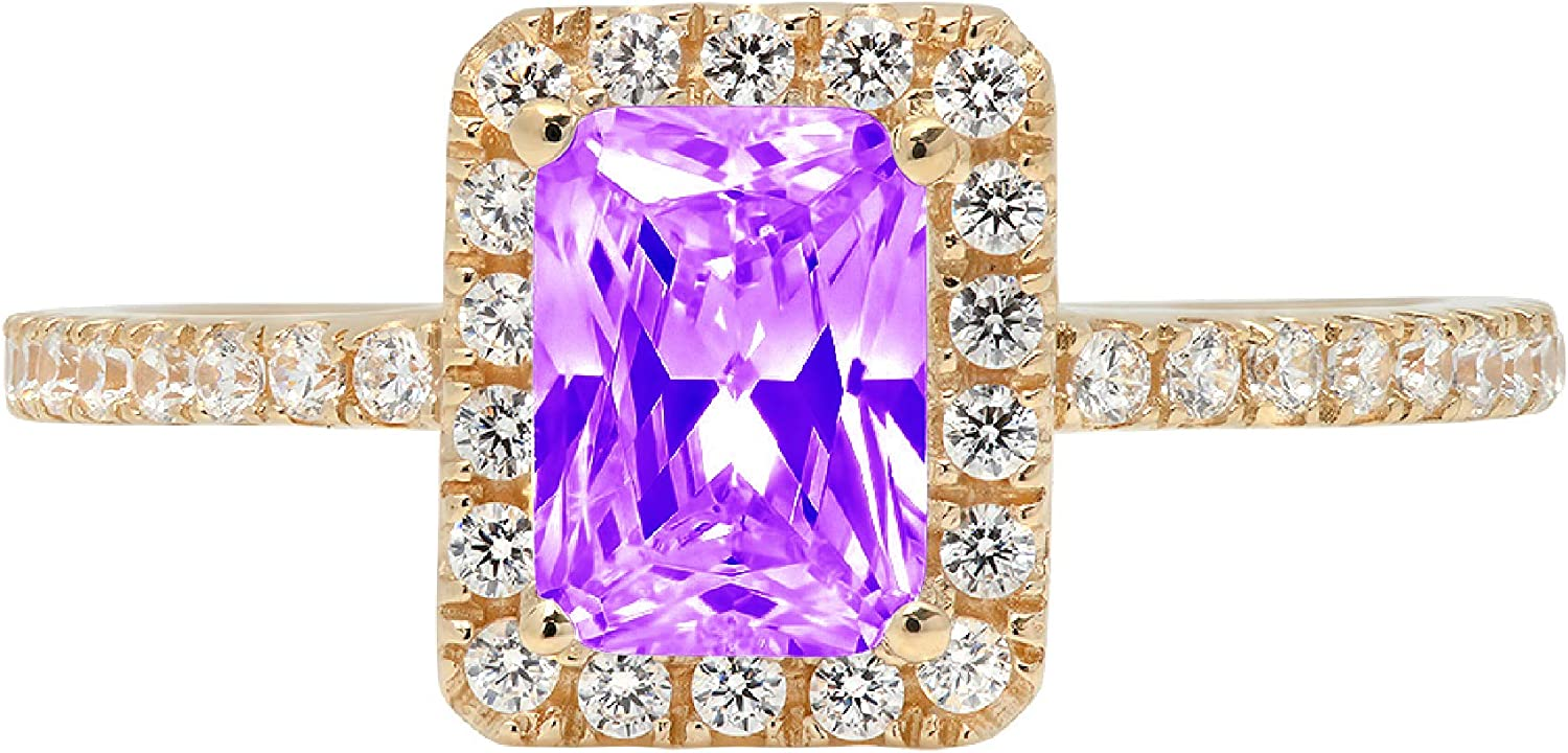 1.85ct Brilliant Emerald Cut Solitaire with accent Natural Purple Amethyst Gem Stone Ideal VVS1 Engagement Promise Anniversary Bridal Wedding Ring Real 14k Yellow Gold