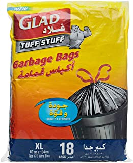 Glad Tuff Stuff Garbage Bags, XX-Large, 170 liter - 18 Counts pack of 1