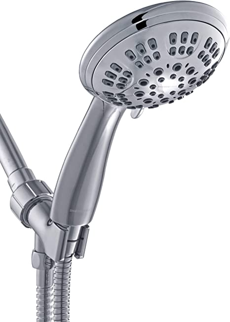 ShowerMaxx, Luxury Spa Series, 6 Spray Settings 4.5 inch Hand Held Shower Head, Extra Long Stainless Steel Hose, MAXX-imize Your Shower with Showerhead in Polished Chrome Finish