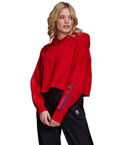 adidas Originals 3-D Trefoil Hoodie (Scarlet/Multicolor) Women