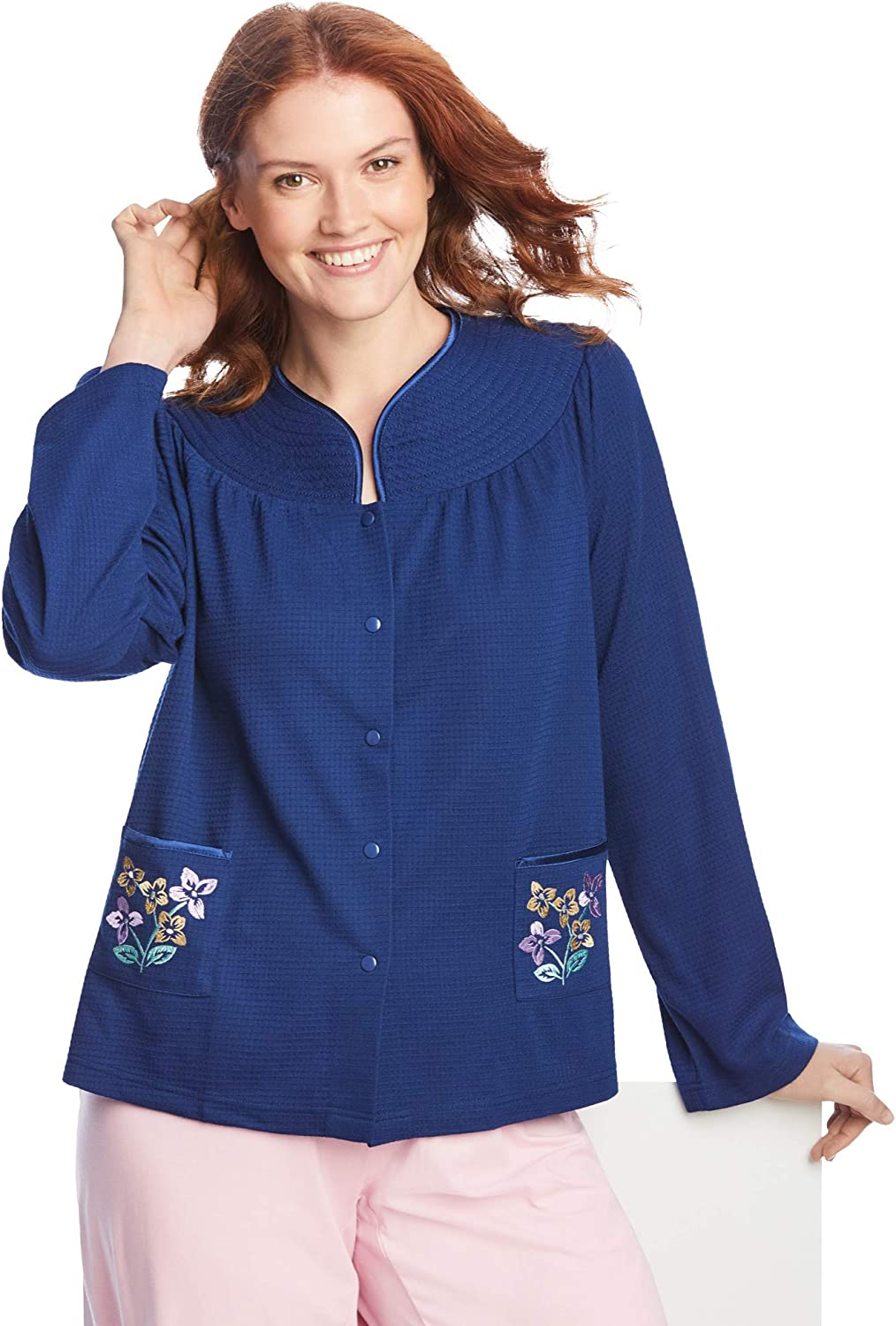 Only Necessities Women's Plus Size Short Waffle Thermal Knit Embroidered Bed Jacket