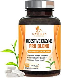 Digestive Enzymes Plus Prebiotics & Probiotics 1000mg - Natural Pancreatic Supplement to Support Healthy Digestion - Gas, Constipation & Bloating Support by Nature`s Nutrition - 120 Capsules
