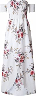 Women's Boho Style Off Shoulder Chiffon Long Dress Summer Beach Floral Print Split Party Maxi Dress Long Dresses