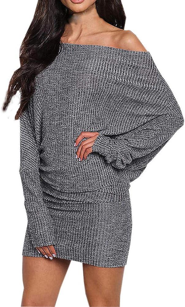 Damen Pullover Kleid Sunday Frauen Abendkleid Langarm Schulterfrei Pullover Herbst Pulli Mini Kleid Winter Party Kleid Sweater Lang Oberteile Jumper Winterhemd Bekleidung