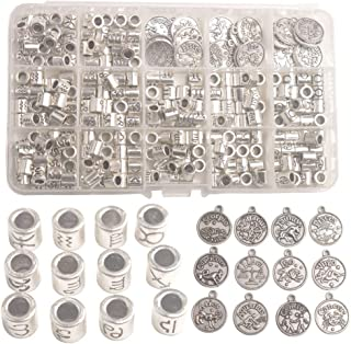 Changjin One Box of 264PCS Antiqued Silver Metal Cylinder Zodiac Beads Sign Charms in Storage
