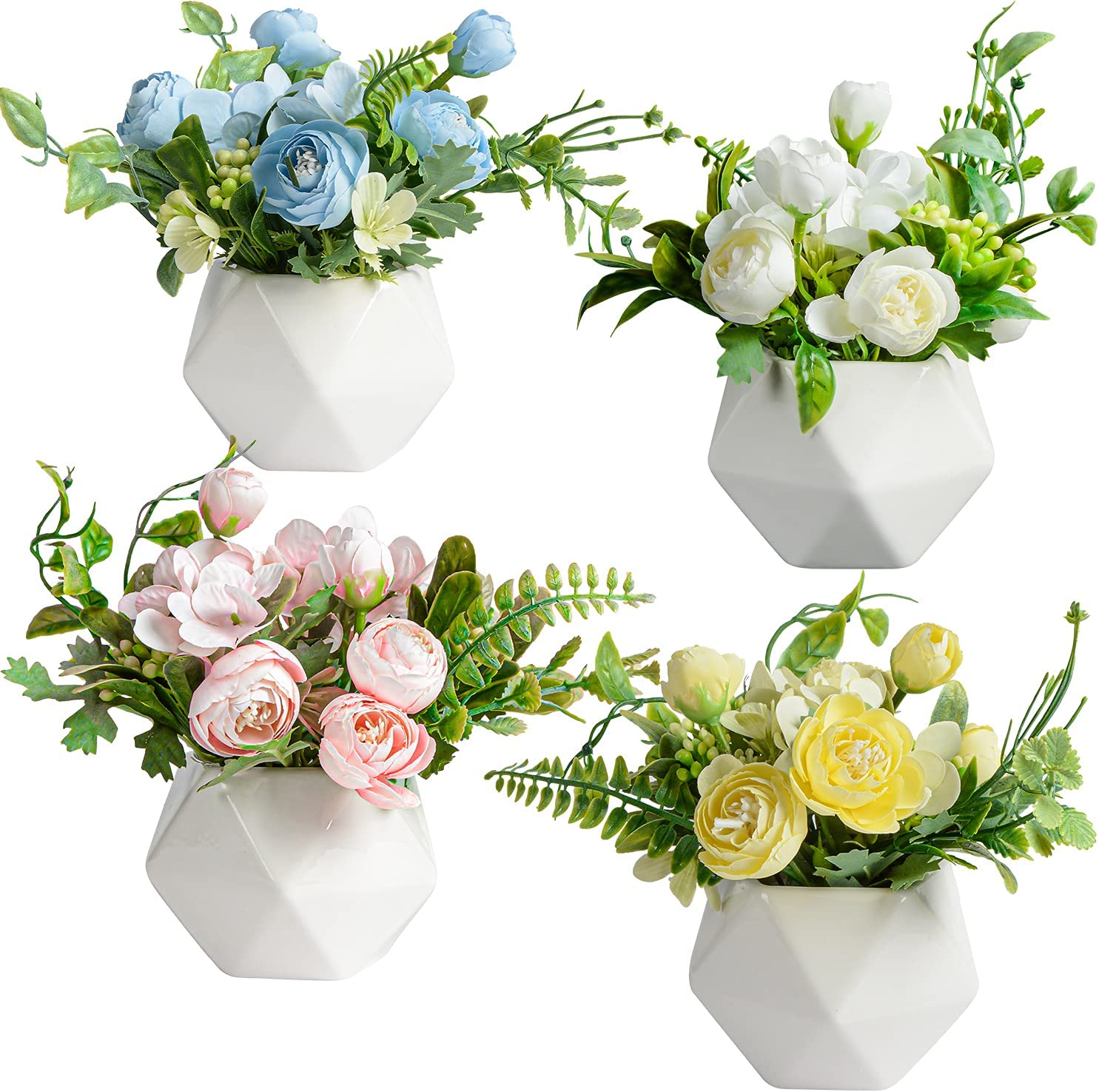 Set of 4 Potted Artificial Flowers Mini Silk Flow Fake Camellia Max 54% Wholesale OFF