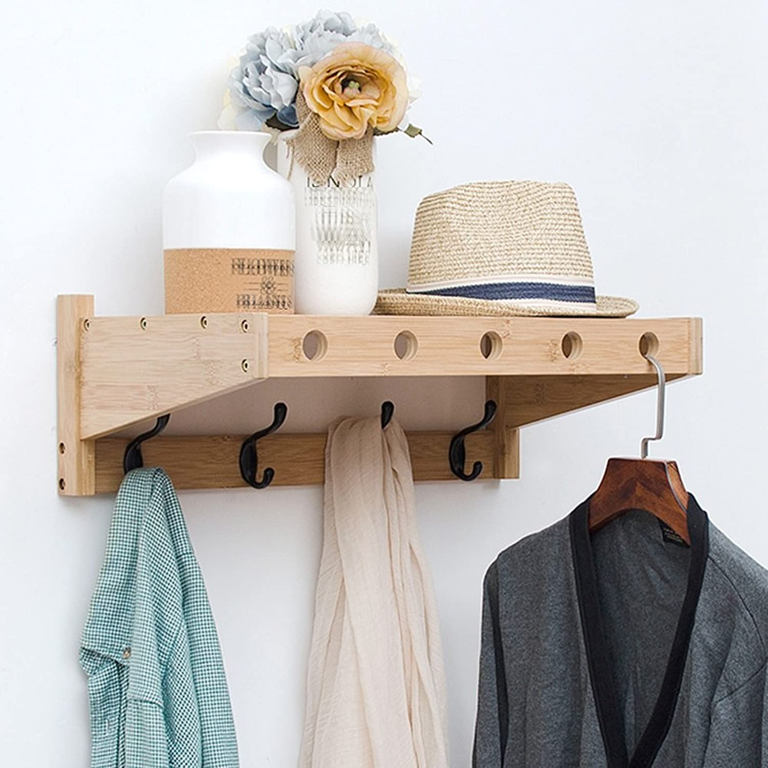 LIANGLIANG Wall Mounted Coat Rack The Top Layer Can Store A Fixed Hanger Bamboo 3 colors 3 (color   Wood color, Size   52.5  30  18cm)