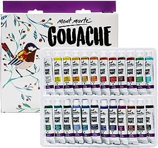 Mont Marte Signature Gouache Paint, 24 x 0.4oz (12ml), Semi-Matte Finish, 24 Colors, Suitable for use with Canvas, Waterco...