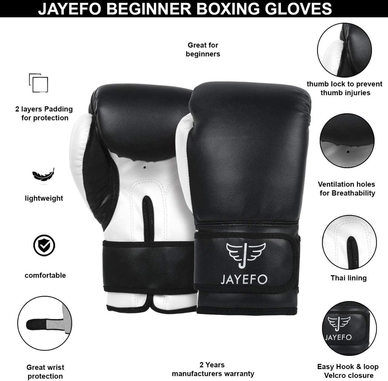 JAYEFO Beginners PRO Model Leather Boxing MMA Muay Thai Gloves {Punching Bag Gloves}{Kickboxing Gloves} {Sparring Gloves} MMA Gloves Bag Gloves