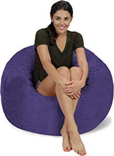 Chill Sack Bean Bag Chair: Large 3' Memory Foam Furniture Bean Bag - Big Sofa with Soft Micro Fiber Cover - Purple Micro Suede