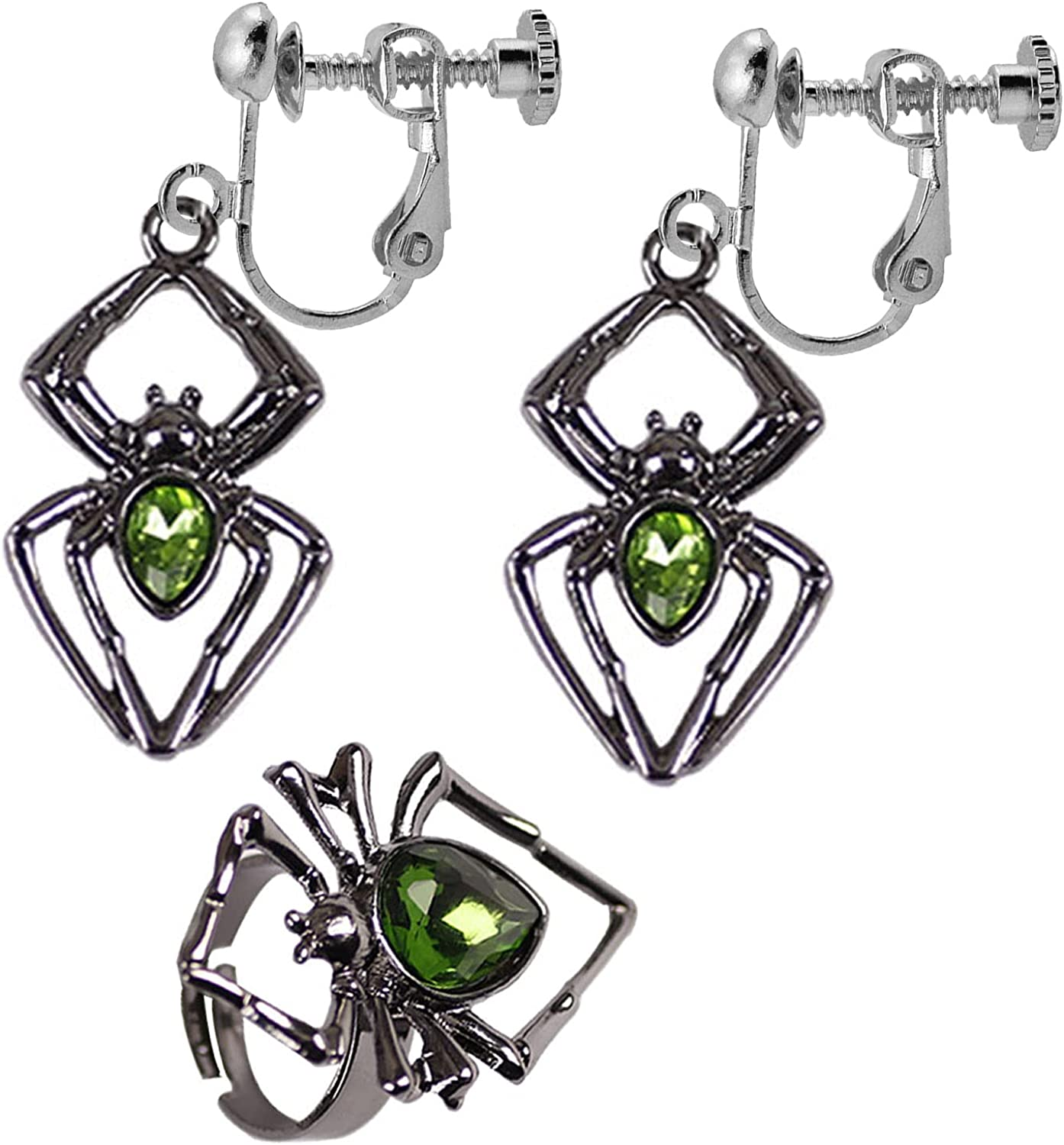 Clip on Halloween Earrings Spider Earrings Non Pierced with Open Ring Crystal Vintage Cosplay Jewelry for Women Teen Girls