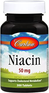 Carlson - Niacin, 50 mg, Supports Cholesterol Metabolism, Energy Production, Heart Health, Nerve Function, 300 Tablets