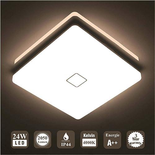 Öuesen 24W imperméable à l'eau LED Plafonnier moderne mince carré LED Lampe de plafond 2050lm Blanc Naturel 4000K App...
