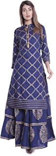 ERISHA Straight Rayon Gold Print Kurti Skirt Set for Women's_Royal Blue
