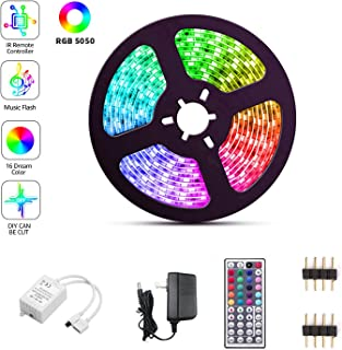 LED Strip Lights, SFOUR RGB Light Strips with Waterproof 16.4FT/5M 44Key, Color Changing lights, Rope Light 150 SMD 5050 LED, IR Remote Controller Flexible Strip for Home Party Bedroom DIY Party Indoo