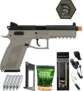 Airsoft Pistol ASG CZ P-09 Suppressor Ready CO2 Airsoft GBB Pistol with ASG 0.25G Blaster BBS 3000CT, Adjustable Tactical Laser, 5 Co2, Magazine, Patch and Speedloader