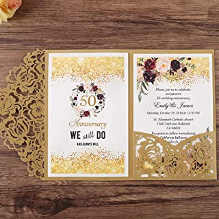 Doris Home 50pc 4.7 x7 inch Gold Laser Cut Hollow Floral Wedding Invitations Cards with Envelopes for Wedding Bridal Shower Anniversary Invites