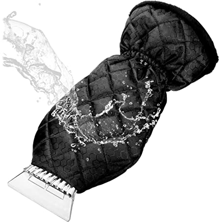 Black Dooppa Ice Scraper with Warm Glove Frost Snow Water Removal for Car Windshield and Window