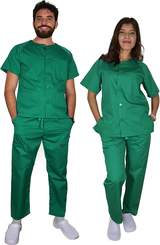 BeBright Uniformes Sanitarios Mujer y Hombre, Pijama Sanitario Blanco, Revisar Cuadro de Medidas