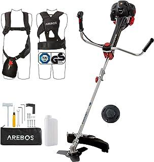 Arebos Premium - Cortabordes de gasolina 2 en 1, desbrozadora 3PS, 52 ccm, con chaleco profesional, sistema antivibración y asas ergonómicas