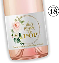 She's Ready To POP ● SET of 18 ● Blush Rose Baby Shower Mini Champagne Labels, Thank You for Celebrating with us Faux Gold Mini Champagne Labels POP When You Get the News Favors WATERPROOF M625-POP-18