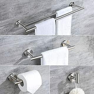 brushed nickel towel bar with shelf