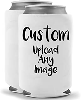 Personalized Custom Can Cooler | Upload ANY Photo | Funny Novelty Can Cooler Coolie Huggie - Set of two (2) | Beer Beverage Holder - Craft Beer Gifts | Quality Neoprene Insulated Can Cooler