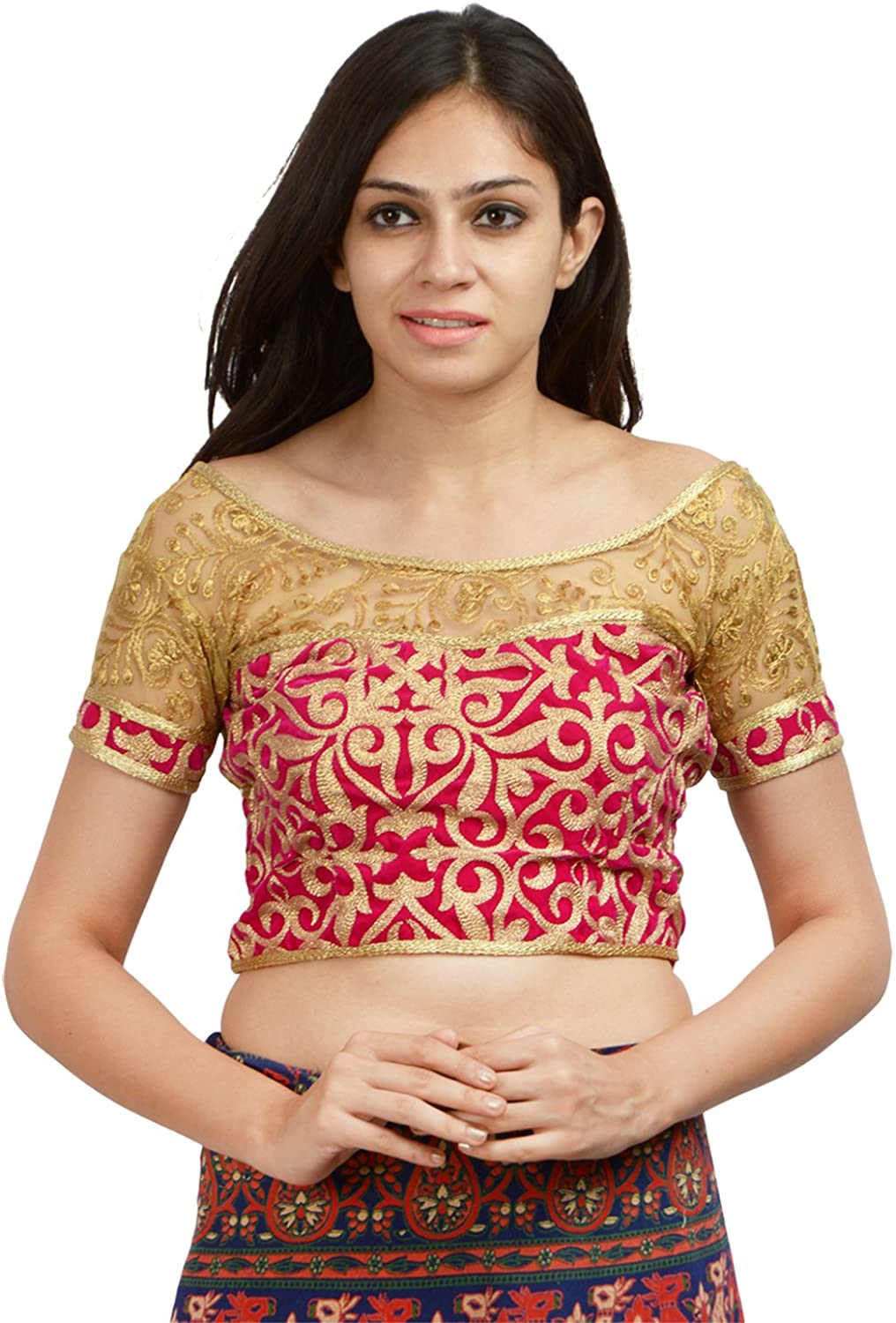 Craft Gallery Women's velvet Saree Blouse (CM0001_36, Pink and gold, 36)