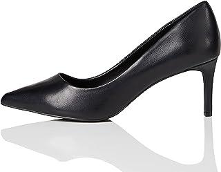 Marque Amazon - find. Point Mid Heel Leather Court, Escarpins femme