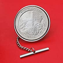 America the Beautiful US 2010 Arkansas Hot Springs National Park Quarter BU Uncirculated 25 Cent Coin Silver Plated Tie Tac Tack BRAND NEW