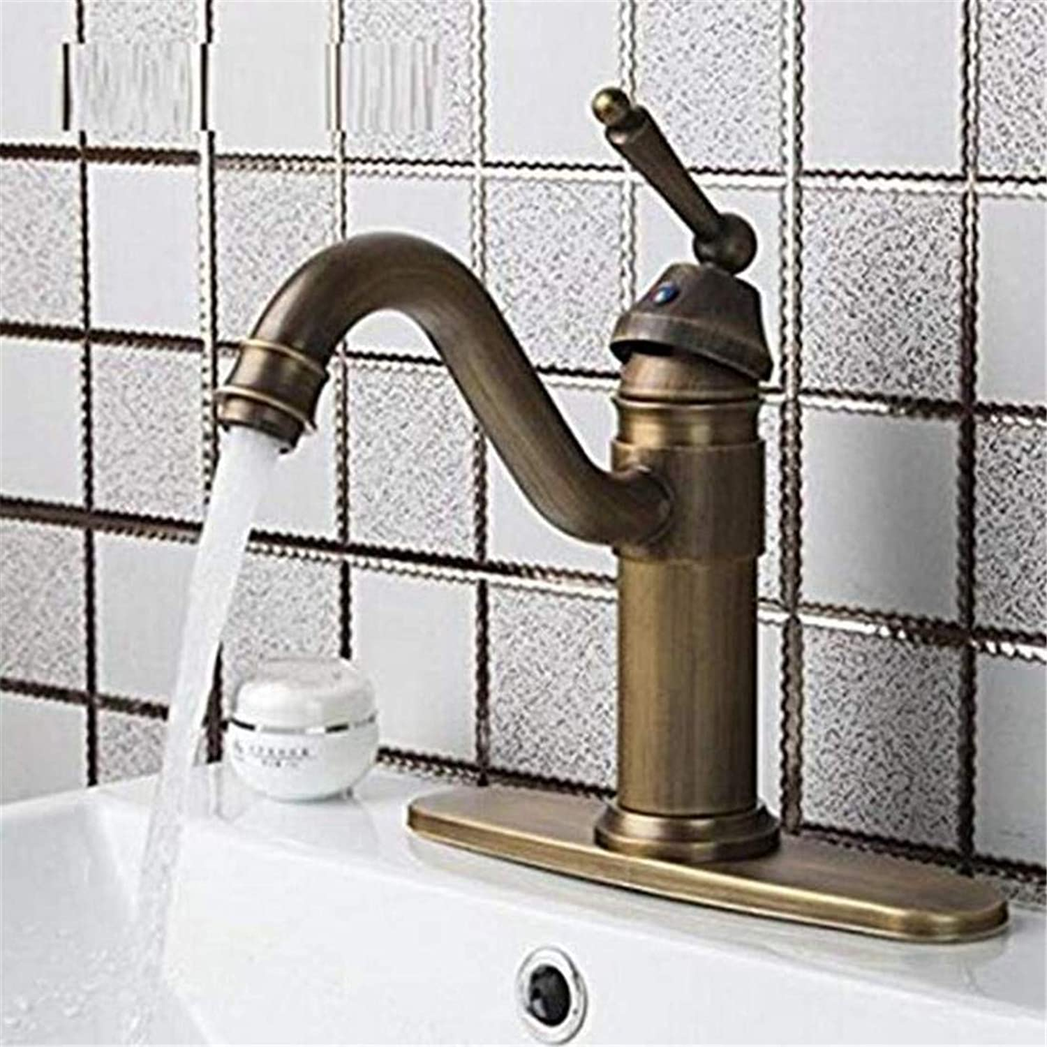 Faucet Luxury Plated Mixer Faucet Vintage Swivel Antique Brass Single Handle Cover Plate Hot Cold Hose Basin Kitchen Sink Faucet Mixer Taps