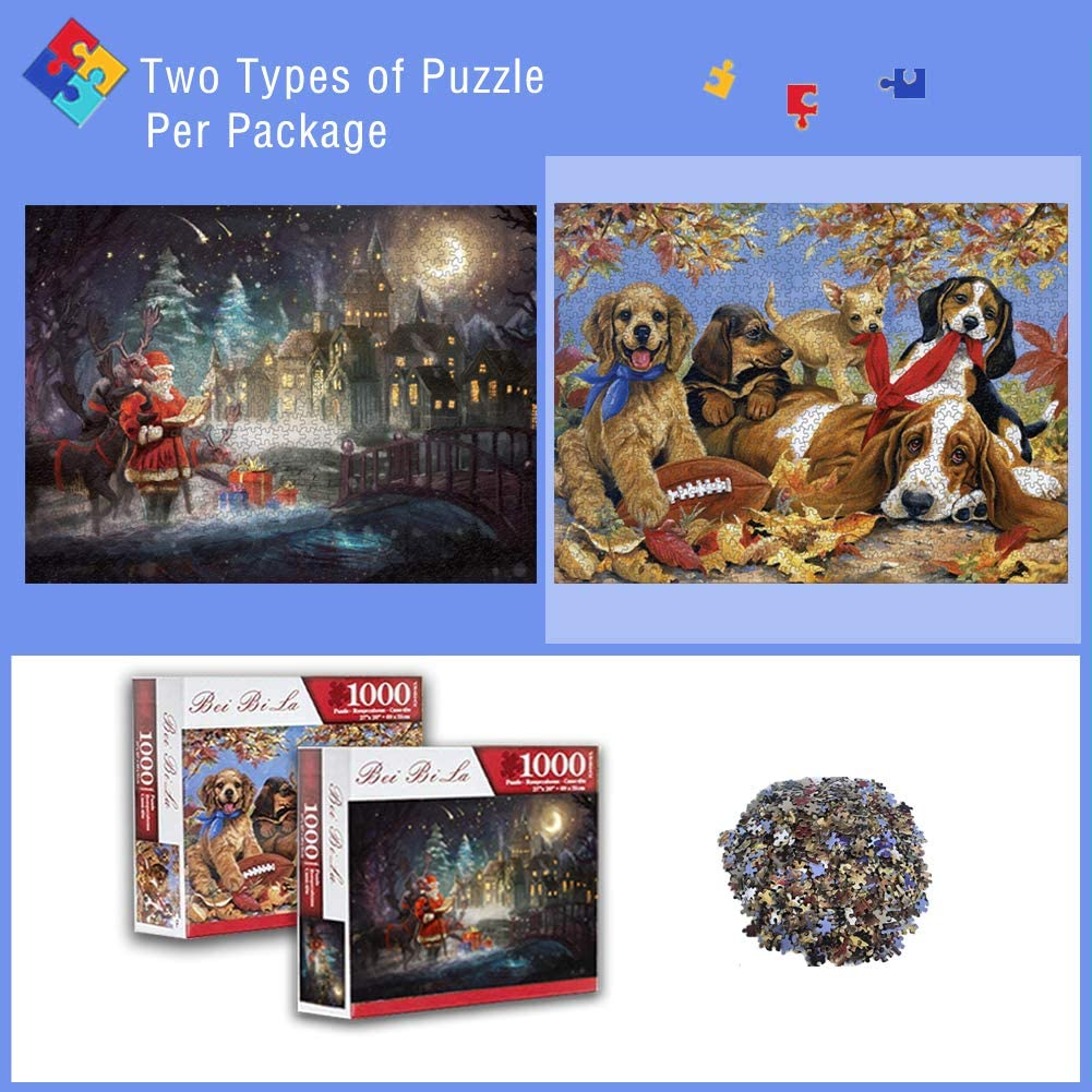 1000 Piece Christmas and Fall Dog 2 in 1 Multipack Jigsaw Puzzle for Adults Challenging Impossible Family Puzzles Games