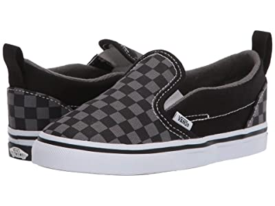 Vans Kids Slip-On V (Infant/Toddler) ((Checkerboard) Black/Pewter) Kids Shoes