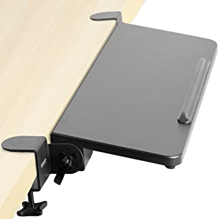 VIVO Clamp On Tilting Keyboard Tray, 26 (31 Including Clamps) x 9 inch Extension Platform for Typing and Mouse Work, Elbow...