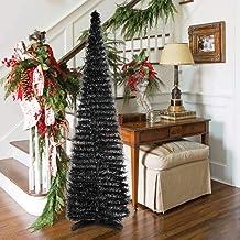 HMASYO Halloween Christmas Tree - 6 Foot Black Tinsel Pop Up Artificial Tree, Collapsible Pencil Halloween Christmas Tree ...
