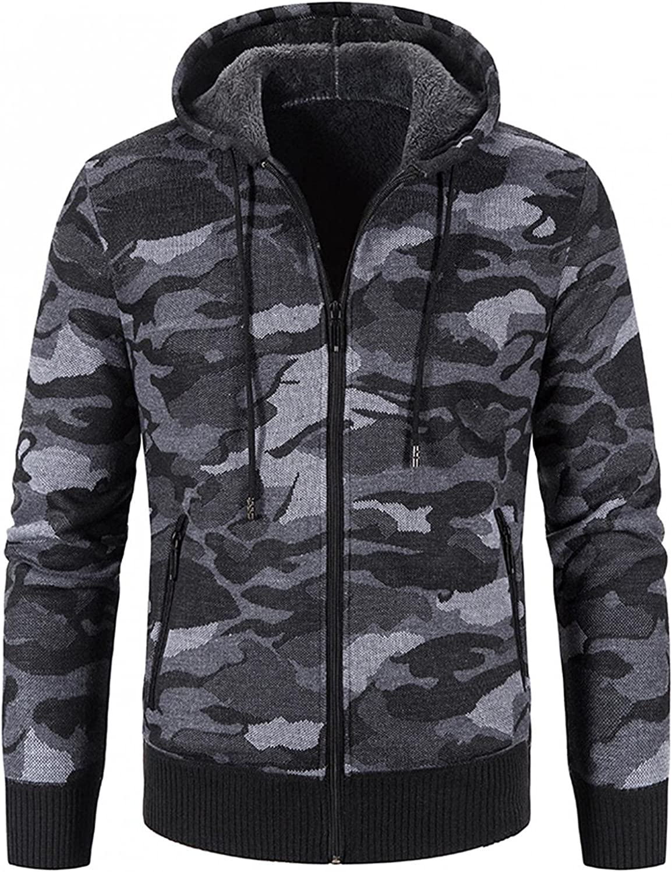 JSPOYOU Mens Hoodies Jackets Lightweight Camouflage Full Zip Fleece Sweatshirt Sweater Outdoors Sports Outwear