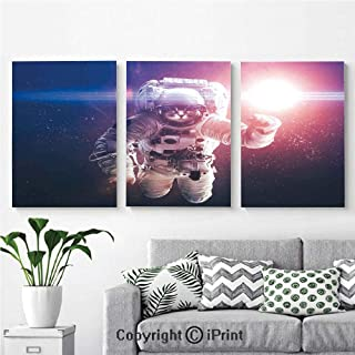 Wall Art Decor 3 Pcs High Definition Printing Flying Cat Without Gravity with Clusters Planet Eclipse Image Painting Home Decoration Living Room Bedroom Background,16