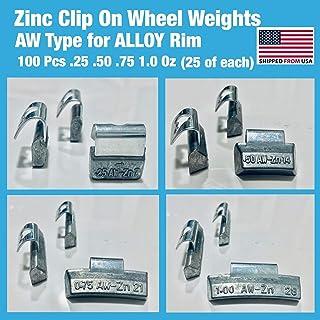 Gallardo Tire Products   100 Pieces ZINC Clip ON Wheel Weights .25 .50 .75 1.0 (25 Each) Alloy Rim AW Type (zinc)