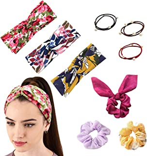 9 Pack Cross Headbands Set Girl Hair Wraps Boho Style for Women