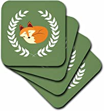 3dRose Sleeping Fox with Laurel Wreath Green-Soft Coasters, Set of 4 (CST_223347_1), Multicolor