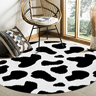 Round Area Rugs Cow Print Black and White Spots Farm Life with Cattle Camouflage Animal Skin Soft Stain-proof Carpet Floor...