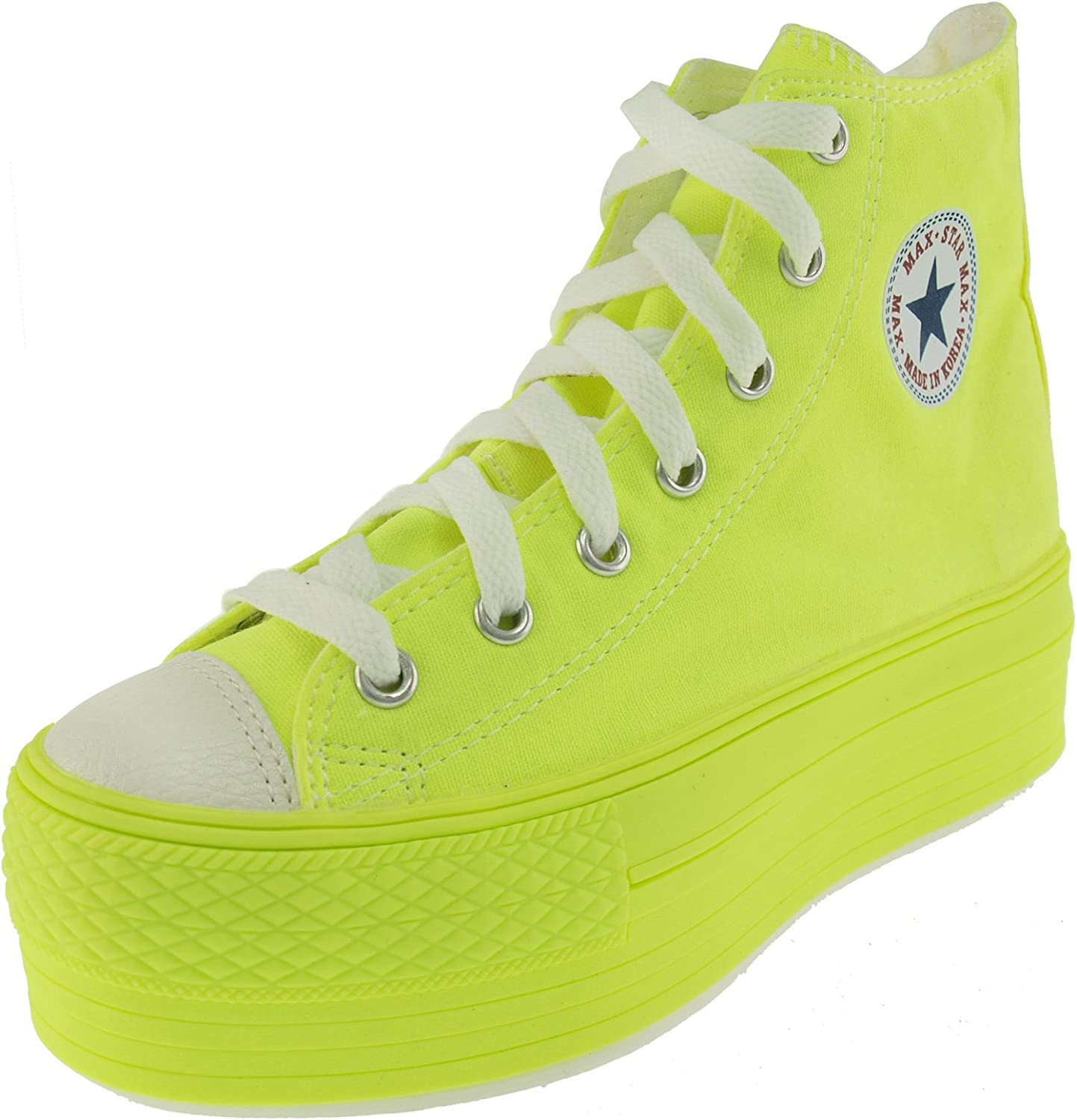 Maxstar Fluorescent color High Top Canvas Platform Sneakers shoes