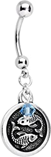 Body Candy Handcrafted Steel Zodiac Sign Dangle Belly Ring Created with Swarovski Crystals