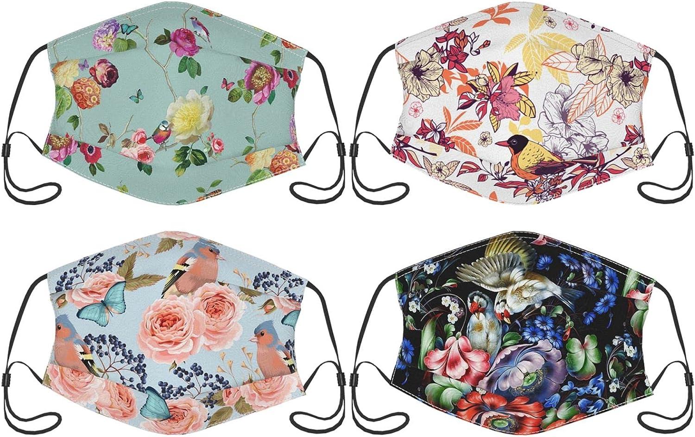 4PCS Tropical Hawaiian Flower Floral Face Mask for Adults Men Women, Face Bandana Balaclava Reusable with Filter Pocket