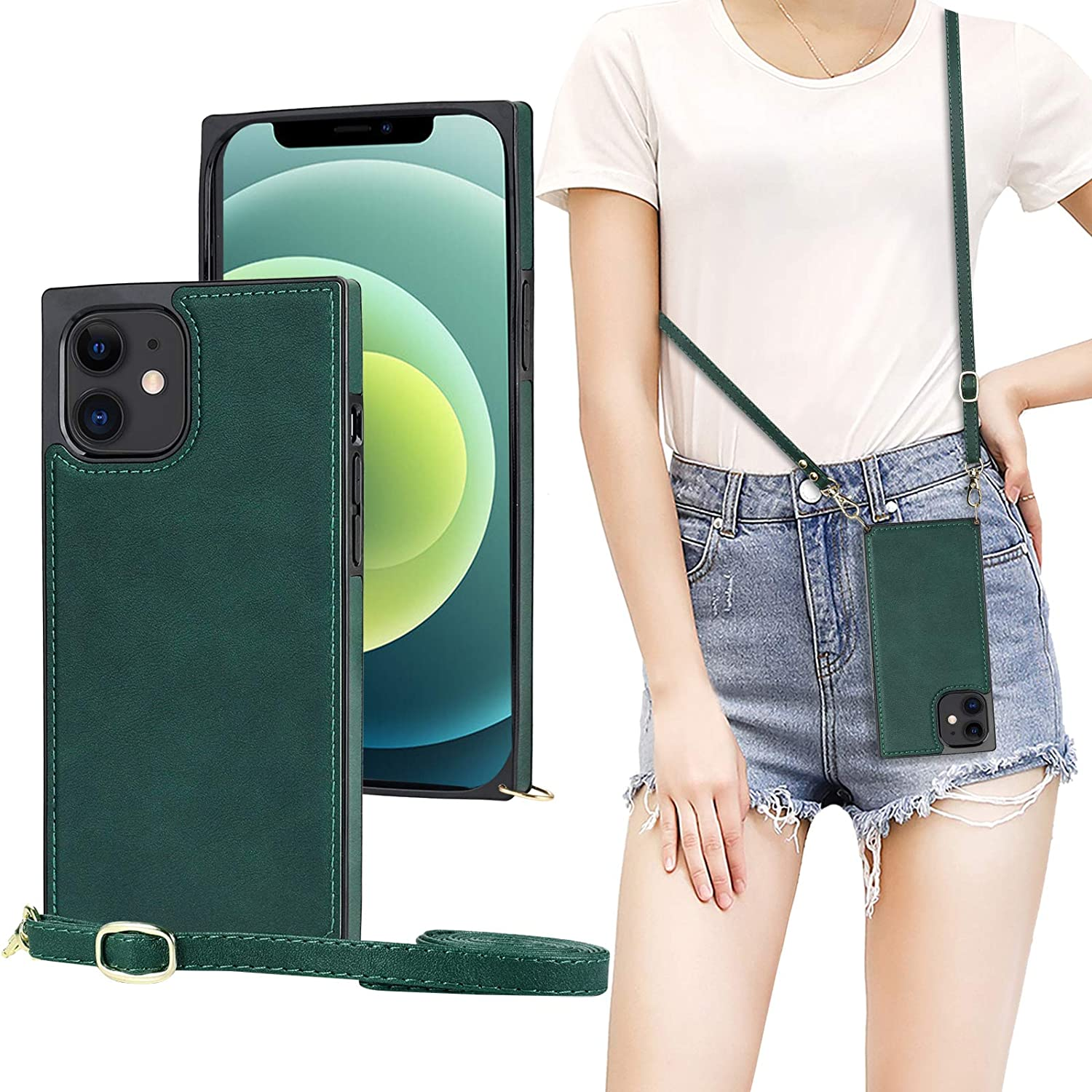 Vaburs Compatible with iPhone 12 Mini Crossbody Case with Strap Full Body Protection PU Leather Shockproof Protection Neck Cord Lanyard Strap Cover for iPhone 12 Mini 5.4 Inch(Green)