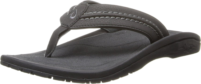 OluKai Hokua Men's Beach Sandals, Quick-Dry Flip-Flop Slides, Water Resistant & Wet Grip Rubber Soles, Compression Molded Footbed & Soft Comfort Fit