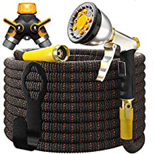 [UPGRADED 2019] Garden Hose Expandable - Superior Strength 3750D   4-Layers Latex   Extra-Strong Brass Connectors   10-Way Durable Zinc Water Spray Nozzle, 2-Way Pocket Flexible Splitter (100 Feet)