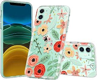Lontect Compatible iPhone 11 Case Slim Bumper Cushion Clear Floral Design Soft Flexible TPU Back Cover Transparent Scratch...