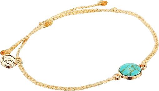 Bezel Set Turquoise Cabochon Charm/Cream String
